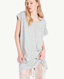 Kleid mit Spitze Hellgrau-Mélange Frau YS82KB-04