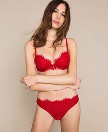 Culotte brésilienne en dentelle et tulle Rouge Grenade Femme 201LL6277-01