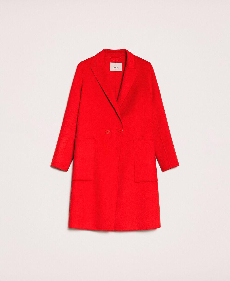Manteau en drap double Rouge «Lave» Femme 201TP242A-0S