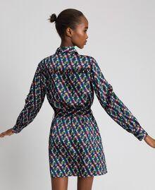 Bedrucktes Hemdblusenkleid mit Gürtel Geometrischer Fuchsprint Frau 192ST2141-03
