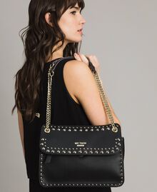 """Faux leather shoulder bag with studs """"Surreal Pink"""" Woman 191MA7141-0S"""