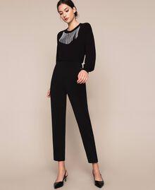 Pantalon fluide en crêpe georgette Griotte Femme 201TP202B-01