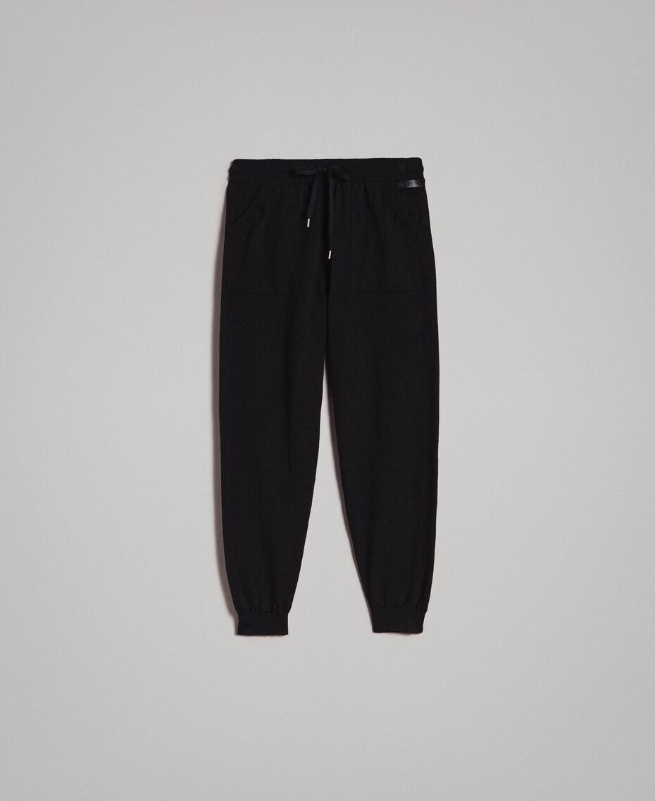 Cotton-blend slub jogging trousers Black Man 191UT3091-0S
