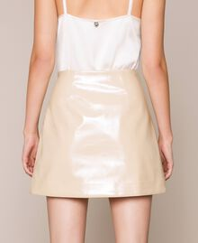 Glossy faux leather mini skirt Vanilla White Woman 201MP2240-03