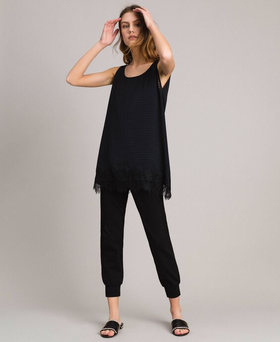Top in voile Vichy con pizzo