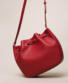 Faux leather bucket bag with scarf Venetian Red Woman 201MA7082-03