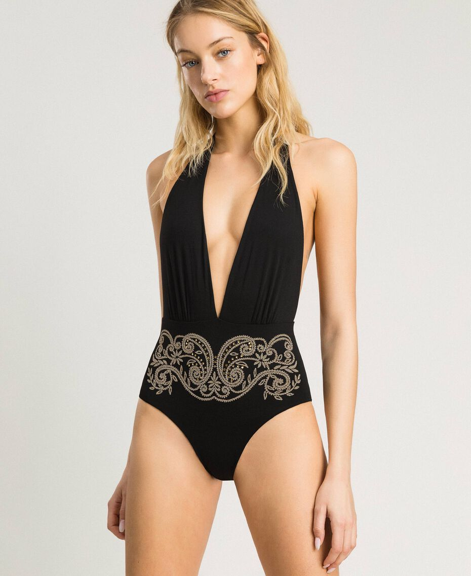 "One-piece swimsuit with low neckline and rhinestones ""Framboise"" Red Woman 191LMMRZZ-0S"