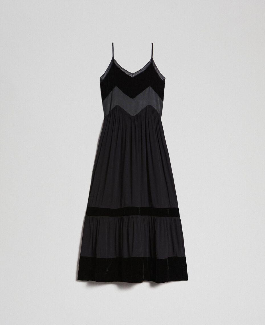 Robe nuisette avec détails en velours Noir Femme 192TT2280-0S