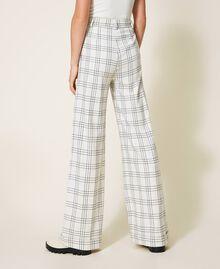 """Wool blend wide leg trousers Two-tone """"Snow"""" White / Black Woman 202TP254D-04"""