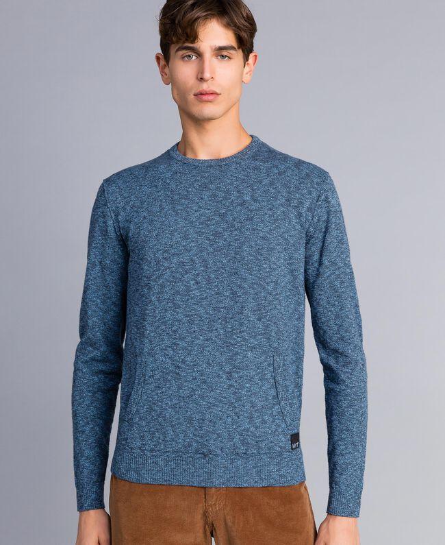 Jersey de algodón y lana Bicolor Gris Antracita / Azul Denim Hombre UA83BB-01