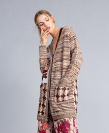 "Floral print houndstooth jacquard cardigan ""Nude"" Pink Floral Jacquard Woman SA83HC-02"