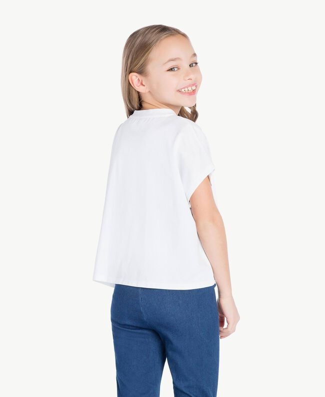 "T-shirt boxy Blanc ""Papers"" Enfant GS82A6-04"