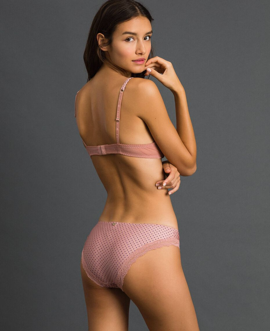 Polka dot briefs with lace Micro Polka Dot Peach Rose Print Woman 192LI6366-03