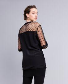 Maxi crêpe de Chine silk sweatshirt Black Woman PA82B4-03