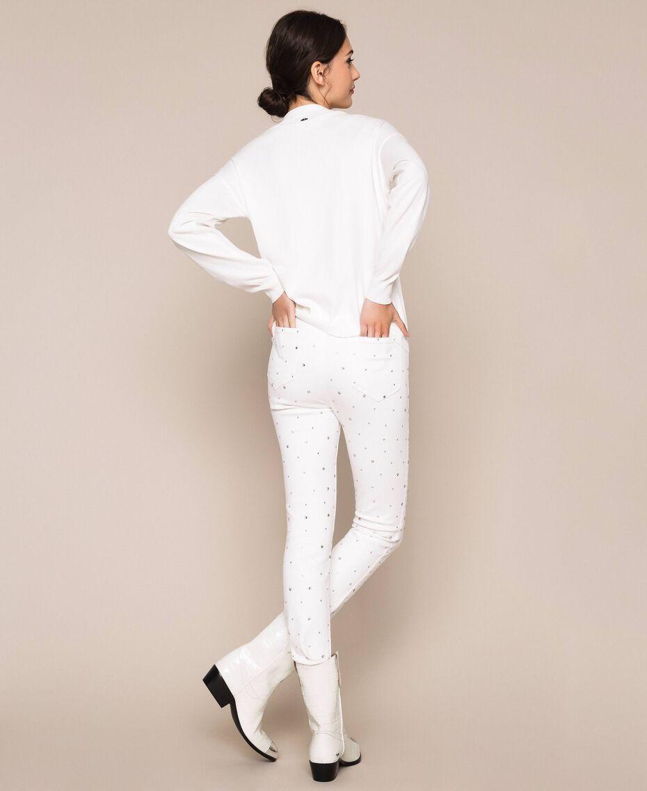Maglia con frange di strass Bianco Neve Donna 201TP3081-03