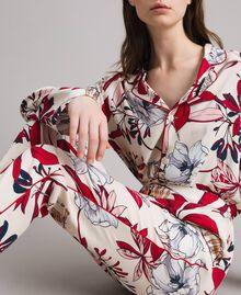 Pantalon en crêpe à imprimé floral Imprimé Exotique Écru Femme 191ST2231-05