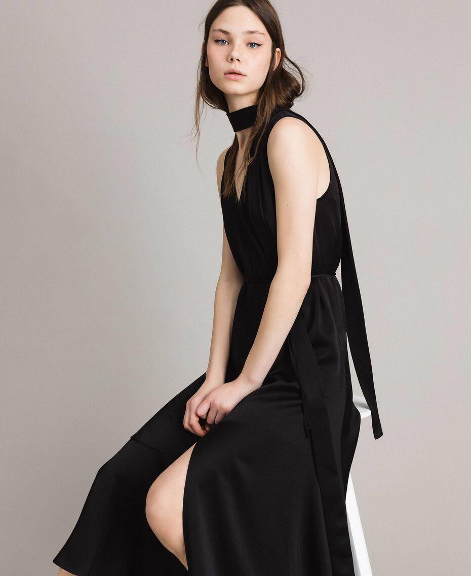 Robe longue avec nœud et fente Noir Femme 191TP269A-01