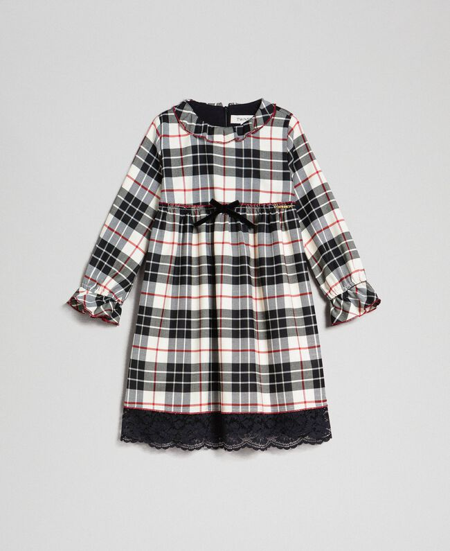"Check dress with lace ""Snow"" White Tartan Jacquard Child 192GB2680-01"
