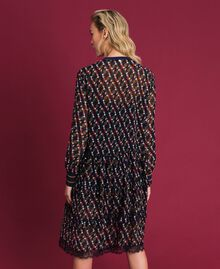 Printed georgette dress with frills Fox Geometric Print Woman 192ST2152-03