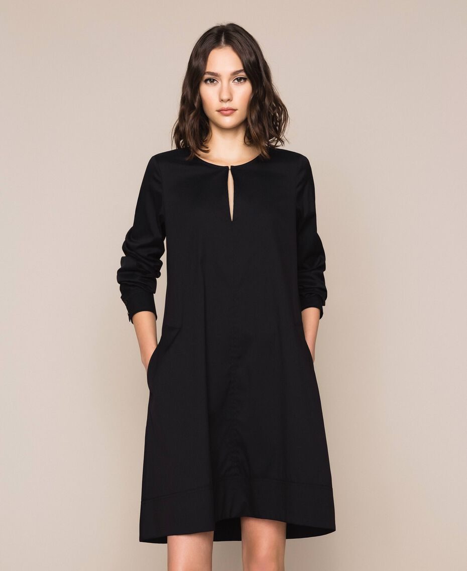 Поплиновое платье Черный женщина 201MP218G-05