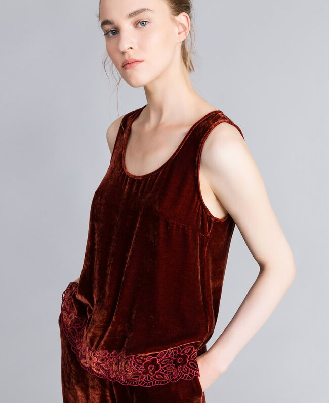 Velvet top Bordeaux Woman PA823D-04