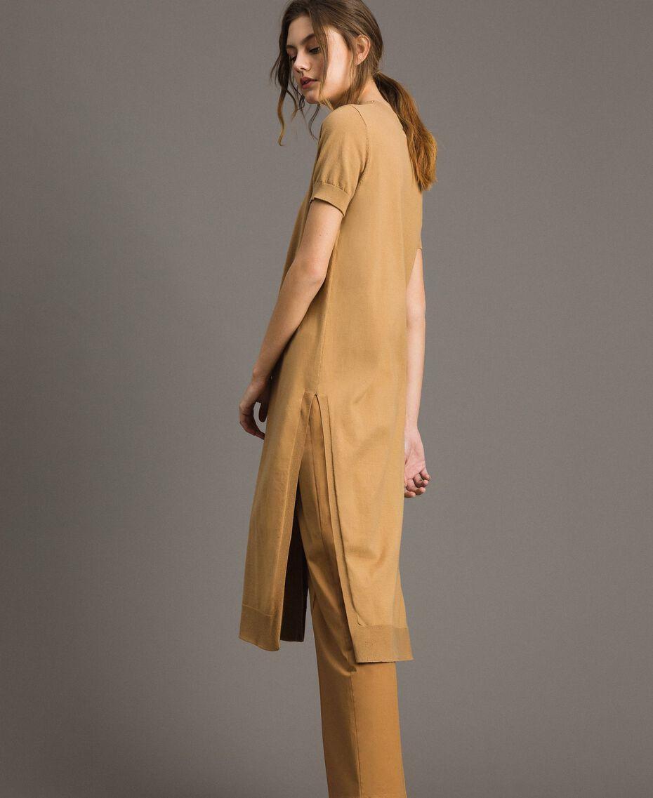 "Robe longue avec fentes Beige ""Savane"" Femme 191ST3012-02"