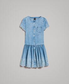 Robe en jean avec broderie anglaise Bleu Denim Femme 191MP2012-0S