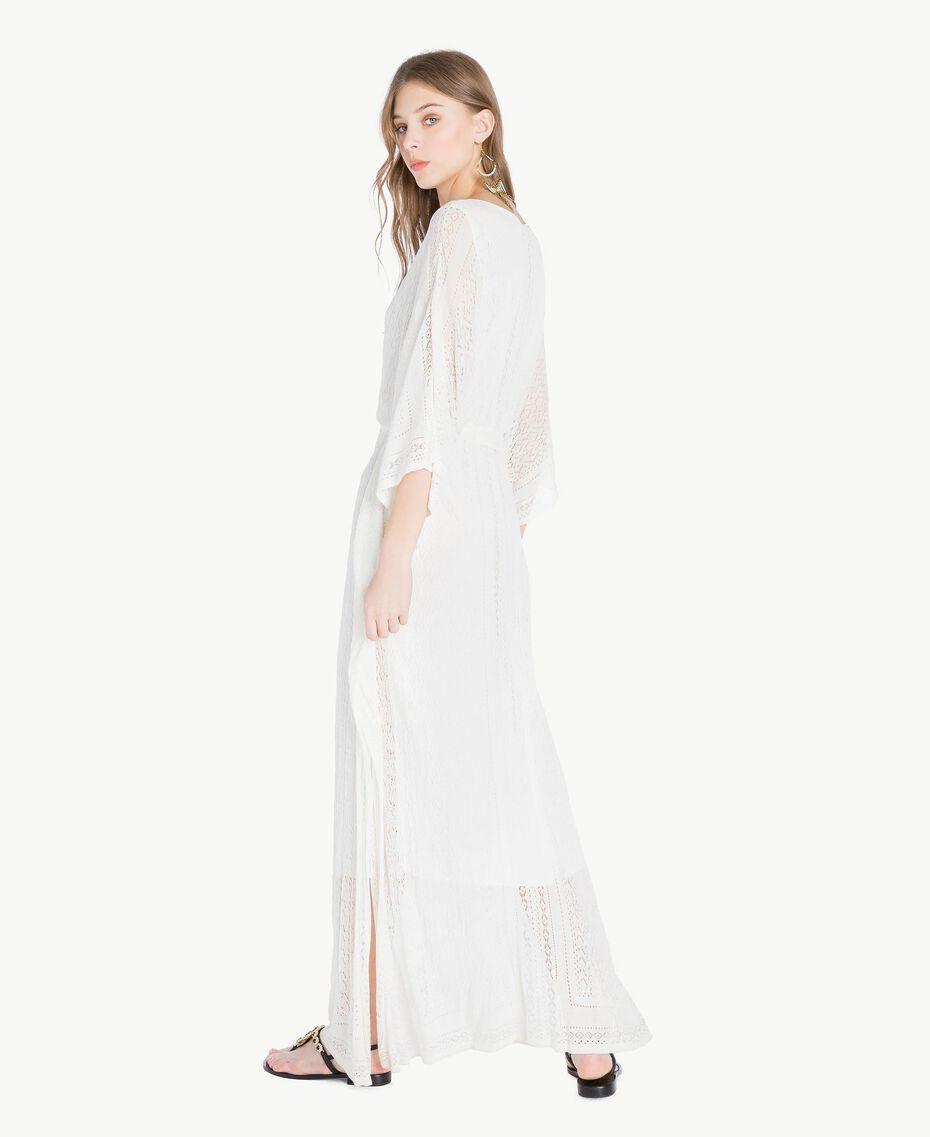 Langes Kleid aus Viskose Perlmutt Frau TS83AC-03
