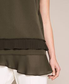 Crêpe de Chine top with pleated flounce Elm Green Woman 201ST2014-04