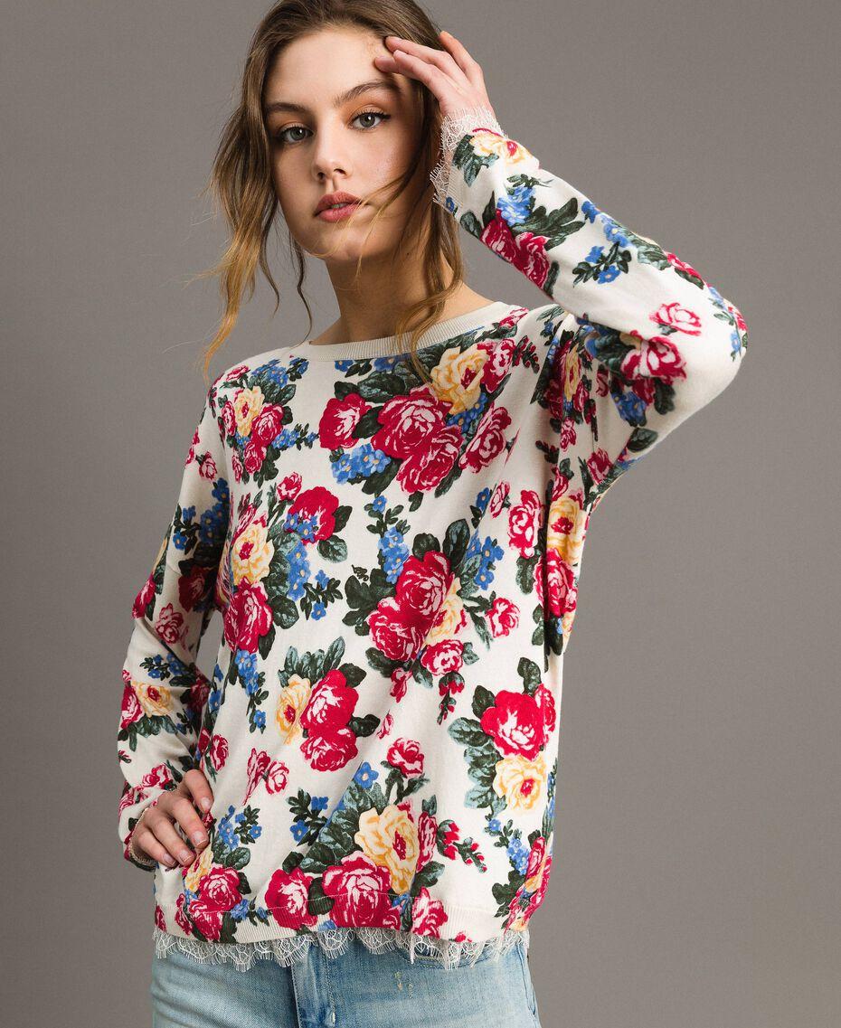 Pullover-Cardigan mit Blumenmuster Motiv Tuch Weiße Blumen Frau 191MP3131-05