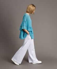 Wide sleeve blouse with flounce Daylight Blue Woman 191LM2HCC-02