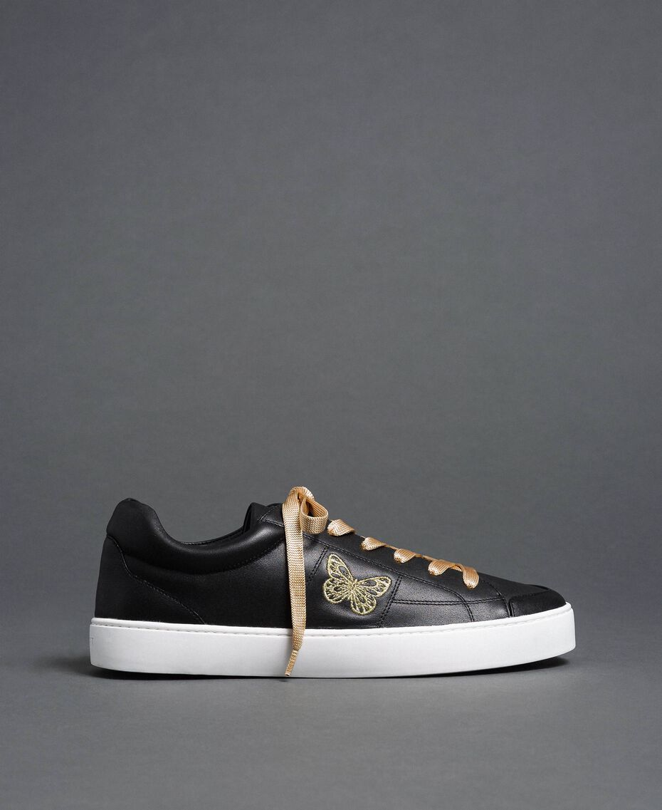 Leather trainers with butterfly embroidery Black Woman 192TCP06A-02
