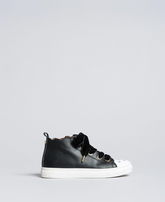 Leather scalloped sneakers Black Child HA88CC-01