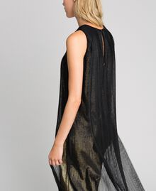 Metal effect long dress with tulle Black Gold Woman 192MT2192-05