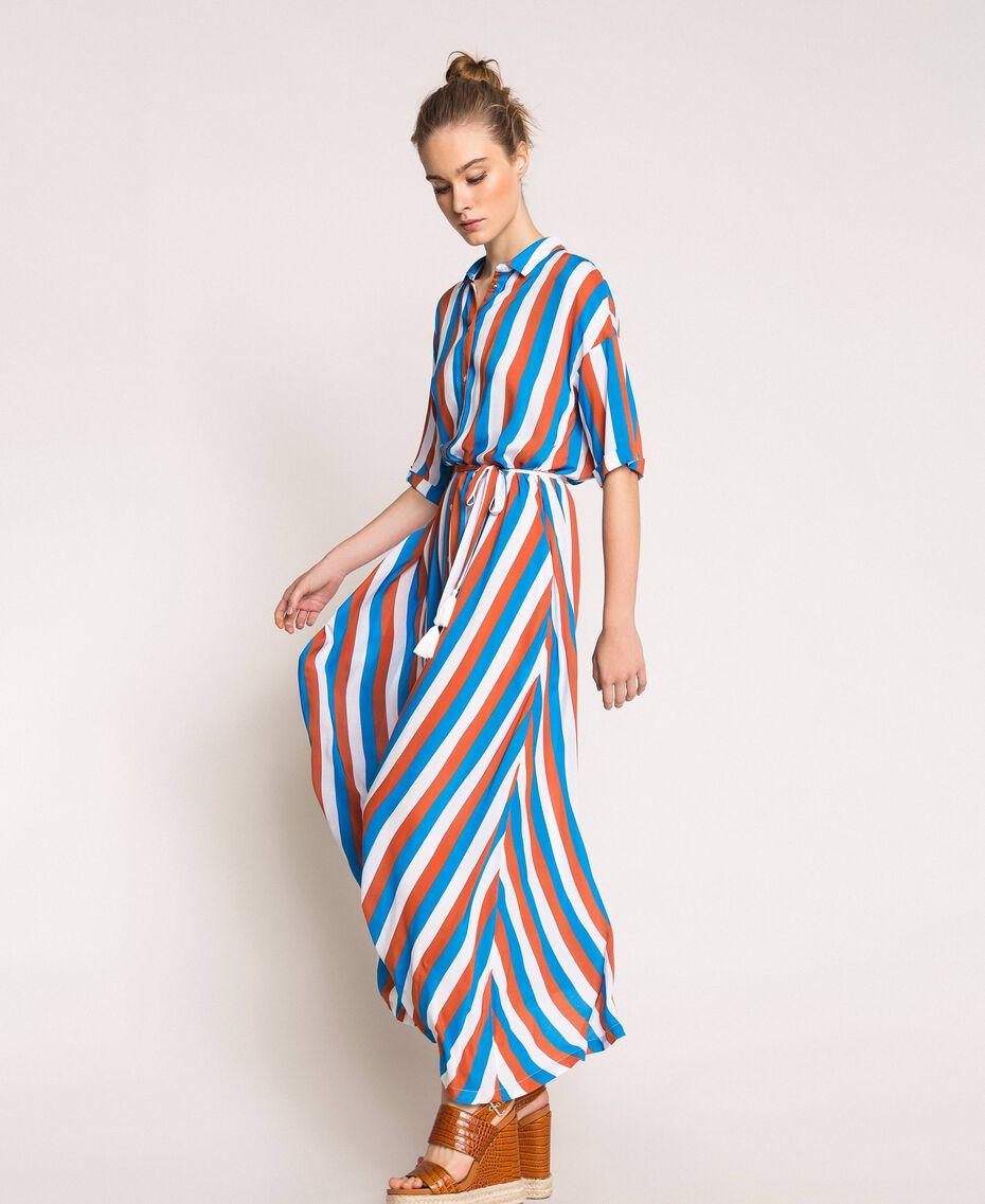 "Long striped shirt dress Multicolour ""Bay"" Blue / ""Choco"" Brown / Optical White Woman 201LM2FBB-02"