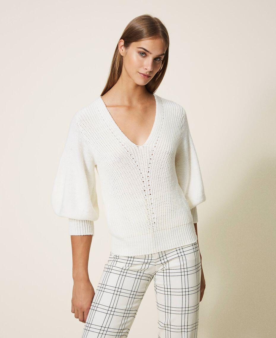 Maglia in misto lana Bianco Panna Donna 202MP3162-01
