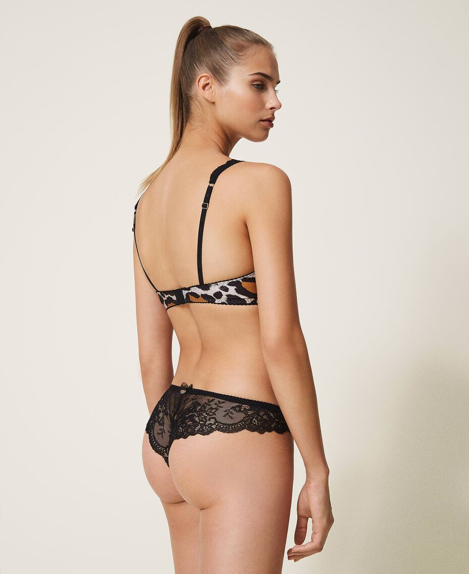 Printed Brazilian briefs with lace Animal Print Woman 202LL6E77-03