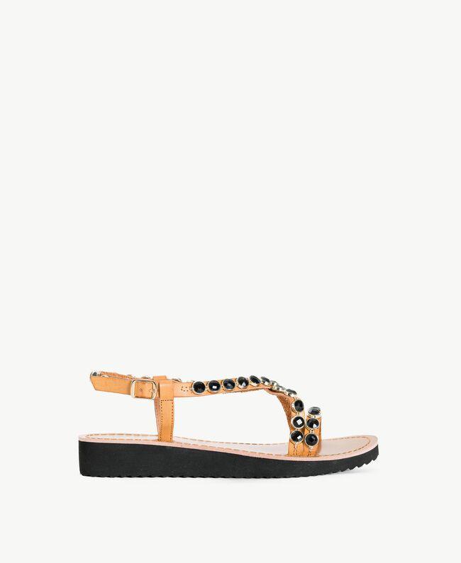 Sandales pierres Noir Femme MS8Z33-01