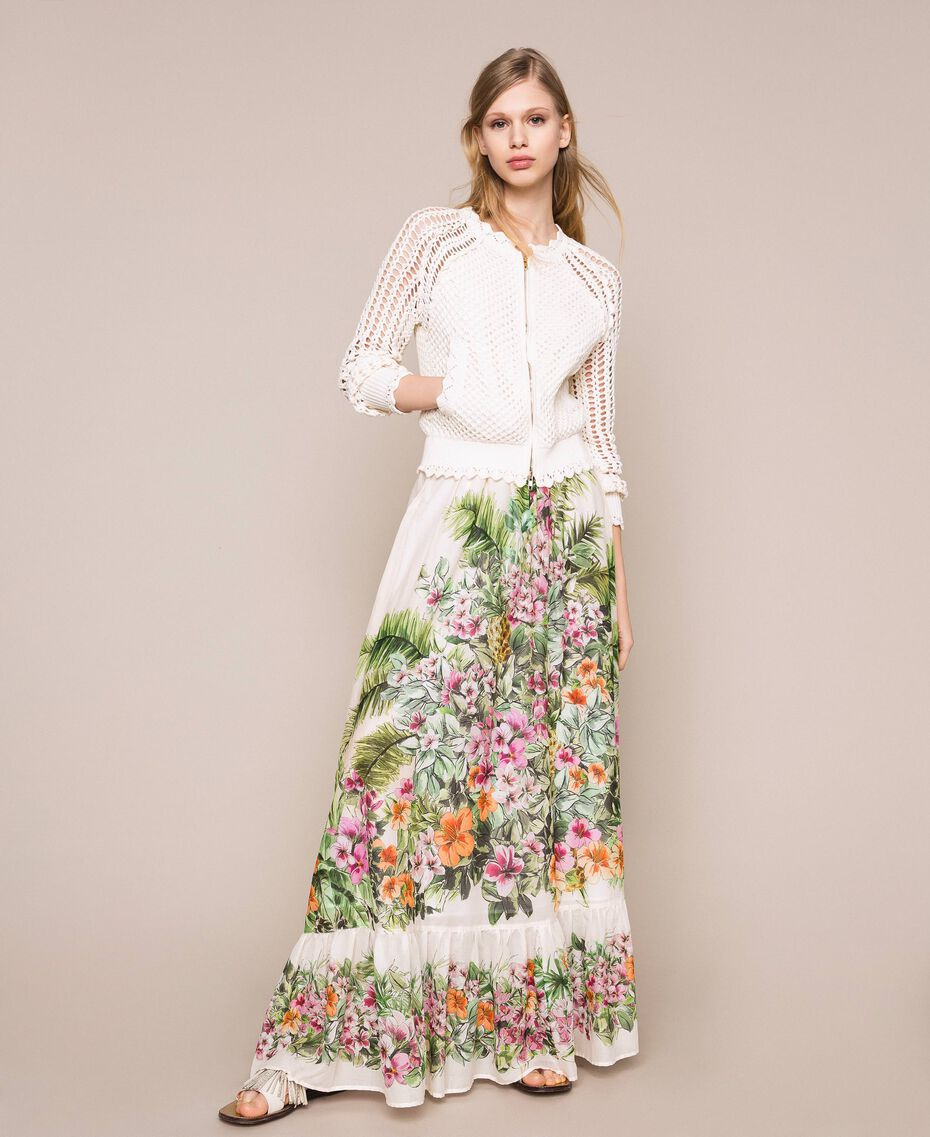 Long skirt with floral print Snow Jungle Flowers Print Woman 201TT2484-01