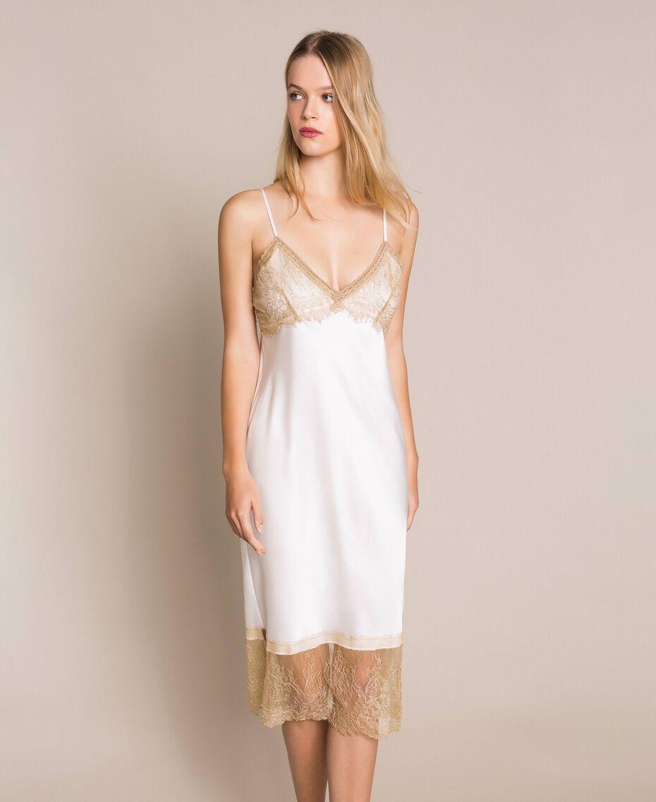 "Satin slip dress with lace Two-tone Black / ""Hemp"" Beige Woman 201MP2131-01"