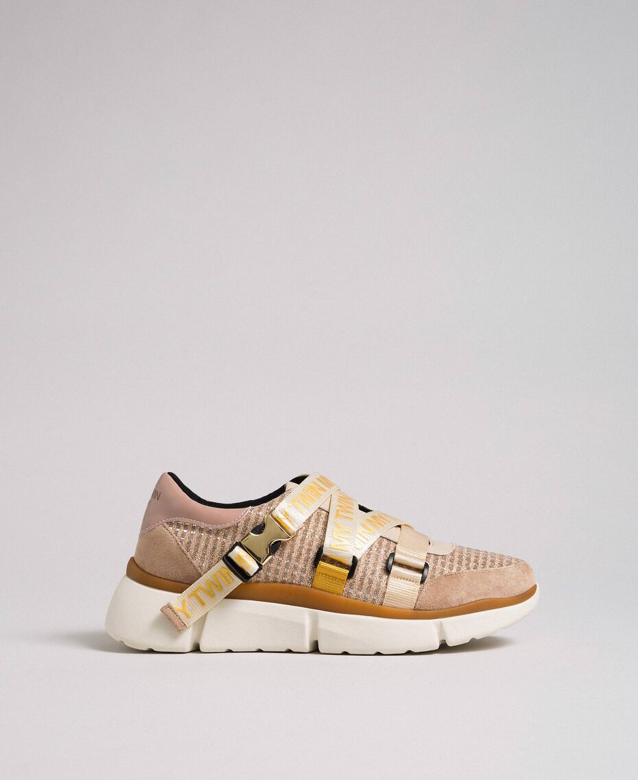 """Faux leather and mesh running shoes """"Pale Pink"""" Woman 192MCT130-01"""