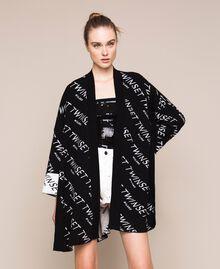 Cardigan jacquard avec logo Bicolore Noir / Blanc Neige Femme 201TP3130-02
