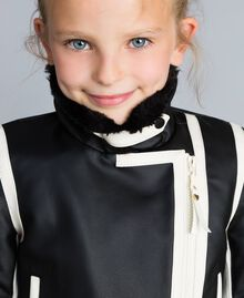 Two-tone faux leather jacket Bicolour Black / Off White Child GA82BU-04