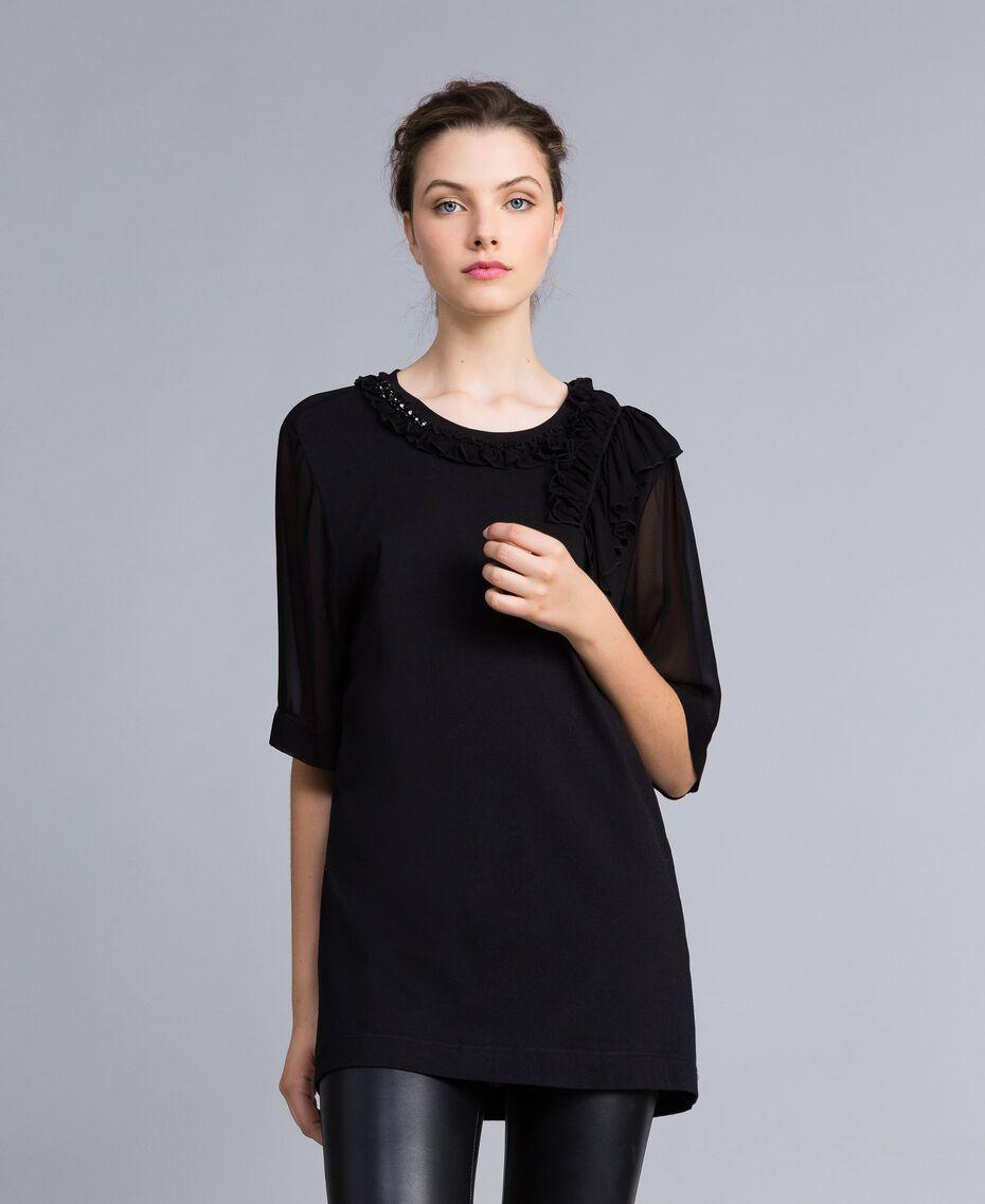Maxi t-shirt en jersey avec ruches Noir Femme PA82DE-02