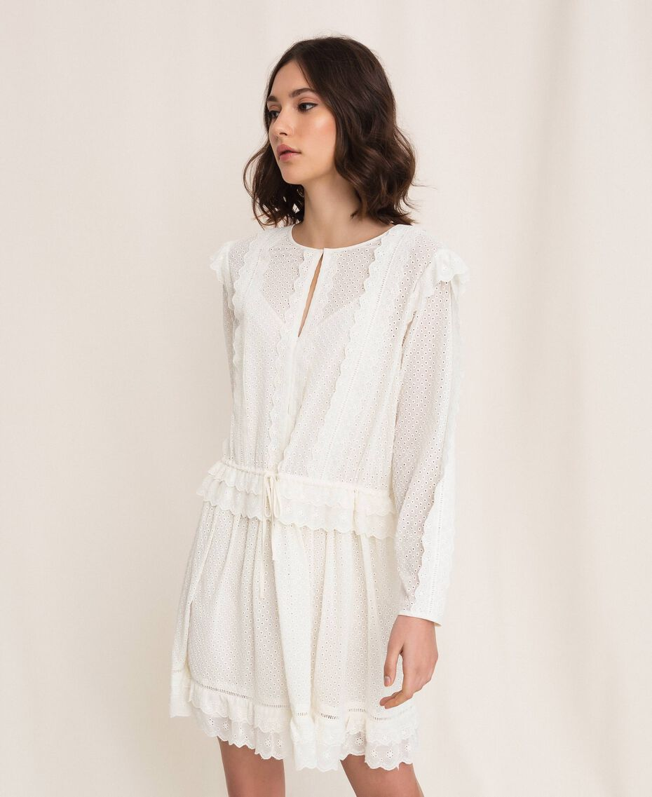 Broderie anglaise dress with drawstring White Snow Woman 201TP2496-03