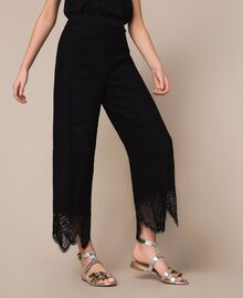 Macramé lace trousers Black Woman 201TP2033-02