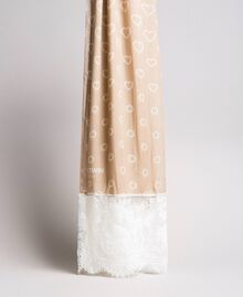Écharpe avec imprimé et dentelle Porcelaine Beige Femme 191MA4305-02