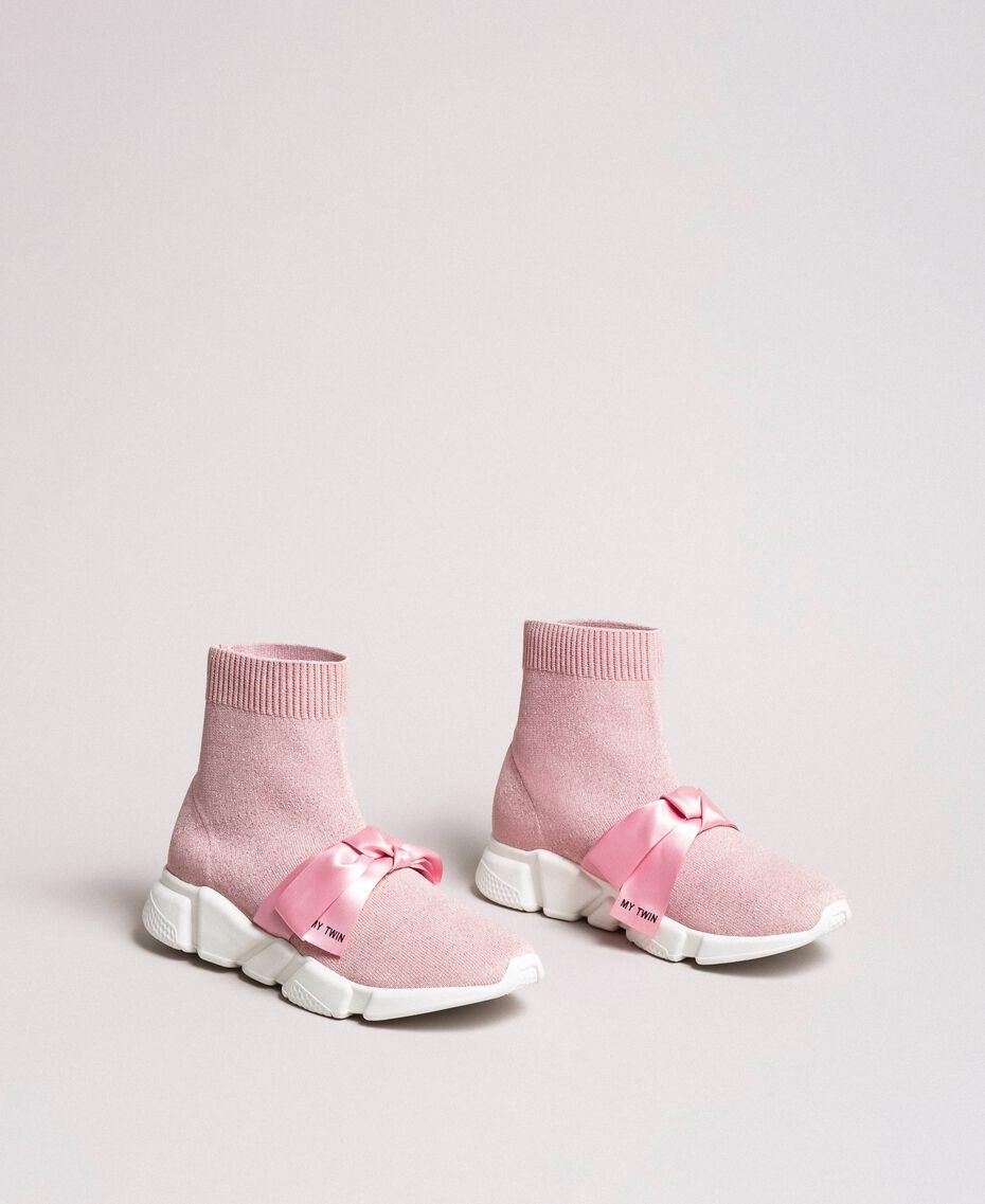 "Laufschuh mit Satinschleife ""Surreal Pink"" Frau 191MCP102-03"