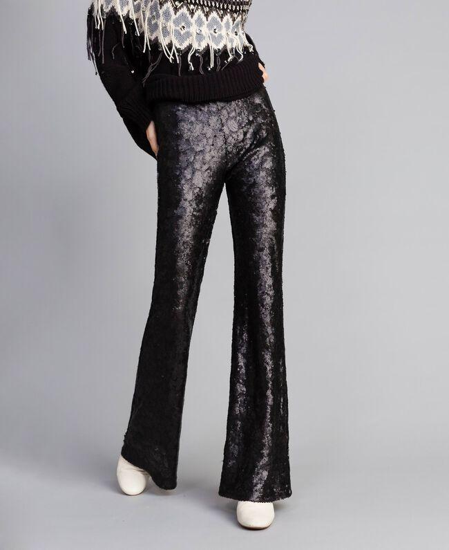 Pantaloni in full paillettes Nero Donna QA8TEF-01
