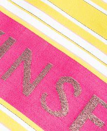 """Strandtuch aus Baumwolle mit Jacquardstreifen Streifen Multicolour """"Bronze"""" Braun / """"Lemon Juice"""" Gelb Frau 191LB4ANN-02"""